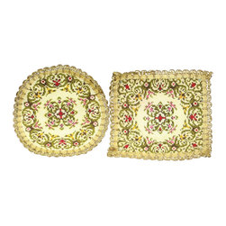 EuroLux Home - Pair of Consigned Vintage French Doilies Green Red - Product Details