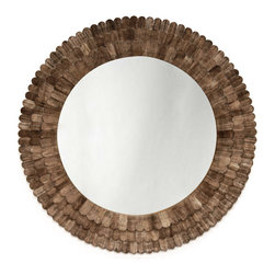 Scalloped Mica Wall Mirror - The richness and elegance of thoughtful craftsmanship can only be imitated by mass production, not reproduced. But those qualities are no clever illusion in this stunning round wall mirror; every one of the horn scales that form its triple-layered outer frame is hand-cut and hand-carved, contributing to a piece utterly worthy of being your wall's focal point. The natural horn material, cut into scalloped shapes reminiscent of old-world shingles, provides appealingly rustic color variation to the attractive frame.