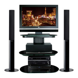 """Bello - Bello Black Flat Panel Audio Video System TV Stand in Powdercoated Black Finish - Bello - TV Stands - FP9830 - This unique metallic black finish stand is perfect for a den or bedroom and can accommodate Flat Panel Plasma or LCD TVs up to 32"""" and up to 4 audio video components and a center channel speaker. Its sleek modern look is accented by elegant black rounded tempered safety glass shelves and scratch resistant powder-coated steel framing. Includes a CMS Cable Management System to hide wires and interconnect cables."""