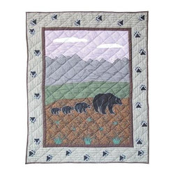 Patch Magic - Bear Country Crib Quilt - 36 in. W x 46 in. L. Handmade, hand quilted. 100% CottonMachine washable, but for best care hand wash in cold water. Do not machine dry. Do not dry clean. Line or flat dry only.