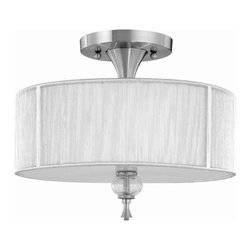 World Imports - Bayonne 3 Light Semi-Flush Fixture in Brushed - Manufacturer SKU: WI827337. Bulbs not included. Ceiling mount only. Chic and modern. Transitional style. Features silver string lined shades and crackled glass balls. Brushed Nickel. Bayonne Collection. 3 Lights. Power: 75w. Type of bulb: Medium (Regular). Brushed Nickel finish. Canopy 6 in. D. 14 in. D x 10.75 in. H (4.44 lbs.)