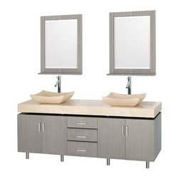 "Wyndham Collection(R) - Malibu 72"" Double Bathroom Vanity Set by Wyndham Collection - Gray Oak Finish wi - The Malibu 72"" Double Bathroom Vanity Set in Espresso finish is one of the newest additions to the Wyndham Collection Designer Series by Christopher Grubb. It stands tall among contemporary bathroom vanities and demands the attention modern bathroom design evokes. This amazing double vanity comes complete with ample storage space, statement making counter, and customizable handles. Its thick marble counter expand the glamour and modern design of this vanity, and will transform your bathroom into a contemporary masterpiece. Each counter is custom made with abundant marble facing in Ivory or CaesarStone (also available in White Carrera). This is a Wyndham Collection original design, and is therefore only available in very limited numbers. Incredibly, this price is for the vanity, sinks, mirror and FREE SHIPPING! Counters are pre-drilled for single-hole faucets. Please contact us for 3-hole faucets. Also available in multiple sizes and countertop options. The vanity is completely finished and without handles attached. This allows custom placement of all 7 handles or only as many as you desire, because each door and drawer can be opened without a handle. Features Constructed of beautiful natural wood veneers over solid oak hardwood Cutting edge, unique styling by Interior Designer Christopher Grubb 8-stage painting and finishing process Floor-standing vanity Fully-extending under-mount soft-close drawer slides Deep doweled drawers Soft-close concealed doors hinges Single-hole faucet mount Faucets not included Brushed Steel finish legs and counter supports Stunning custom-ordered natural marble ""floating"" 4"" deep counter Includes choice of porcelain or optional granite vessel sinks Includes matching mirror 4 doors, 3 drawers How to handle your counter Spec Sheet for vanity Installation Guide for Countertops with Vessel Sinks Installation Guide for Undermount Sinks --> Stone Vessel Sink Installation Guide Installation Guide for MirrorsSpec Sheet for Rotating Wall Cabinet with mirror (WC-V02) Spec Sheet for Wall Cabinet (WC-V203) Spec Sheet for Wall Cabinet (WC-V205) Spec Sheet for Wall Cabinet (WC-V207) Installation Guide for WC-V207 Please note that all custom natural stone and Caesarstone counters are proudly manufactured in the USA specifically for your order, and so require up to 3 weeks manufacturing time. Caesarstone Carbone, Starry Night, Spring Blossom, and Marrone are made from recycled content. Quartz Reflections and Ruby Reflections colors are made with up to 35% post-consumer recycled glass. Chocolate Truffle color is made with up to 17% post-consumer recycled glass.Natural stone like marble and granite, while otherwise durable, are vulnerable to staining from hair dye, ink, tea, coffee, oily materials such as hand cream or milk, and can be etched by acidic substances such as alcohol and soft drinks. Please protect your countertop and/or sink by avoiding contact with these substances. For more information, please review our ""Marble & Granite Care"" guide."