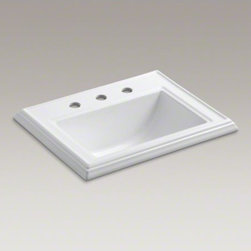 "KOHLER - KOHLER Memoirs(R) Classic drop-in bathroom sink with 8"" widespread faucet holes - Inspired by traditional furniture and architectural elements, this sink carries the clean lines and rich detailing of the Memoirs collection. The decorative edges resemble crown molding for a classic, refined presence."