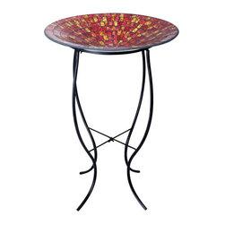 Alpine - Mosaic 18 inch Glass Birdbath with Metal Stand - Red - Features: