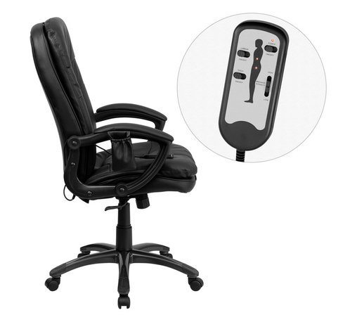 Flash Furniture - Flash Furniture Office Chairs Massaging Offfice Chairs X-GG-P5859-TB - Enjoy a relaxing massage in the comfort of your own office or home with this incredibly comfortable Massaging Executive Office Chair by Flash Furniture. The included remote has a variable slider intensity mode to get to your desired comfort level and has a designated side pocket when not in use. Chair features a mid-back contemporary design with soft leather upholstery and double padded seat and back. Get the most out of your next office chair with this Overstuffed Padded Executive Chair with included Massage feature. [BT-9585P-GG]