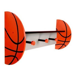 Basketball Wall Shelf with Pegs - 24 x 12 x 6.5 in. - Bring some hoops flair to your little one's room with the Basketball Wall Shelf with Pegs - 24 x 12 x 6.5 in. a basketball-themed shelf that can be used to display books toys pictures and collectibles. The wood shelf features a black shelf and gray back with orange and black basketball shaped end pieces. Black and orange basketball peg hooks offer additional storage for hats clothes and more. About Trend LabFormed in 2001 in Minnesota Trend Lab is a privately held company proudly owned by women. Rapid growth in the past five years has put Trend Lab products on the shelves of major retailers and the company continues to develop thoroughly tested high-quality baby and children's bedding decor and other items. Trend Lab continues to inspire and provide its customers with stylish products for little ones. From bedding to cribs and everything in between Trend Lab is the right choice for your children.