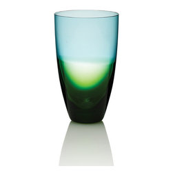 """Frontgate - Kim Seybert Set of Four Glass Vague Tumblers - Designed by Kim Seybert. Heirloom-quality artisanal barware makes a perfect wedding or housewarming gift. 100% handmade glass. Dishwasher-safe. A modern yet timeless heirloom, our Kim Seybert Vague Glass collection breathes fresh life into the ancient art of glass blowing. French for """"wave,"""" each Vague piece is handmade by Eastern European glass masters, with a stunning horizon where blue meets green glass.  .  .  .  . Handcrafted in Czechoslovakia."""