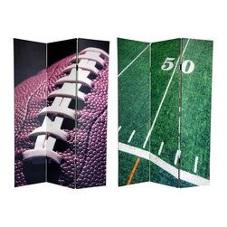 Oriental Unlimted - 6 ft. Tall Double Sided Football Canvas Room - One double-sided divider, both sides shown in image. Evoke the glory of the gridiron with two classic American Football images. On the front is a cropped, close-up photo featuring the laces and chocolate brown surface of a football ready for kickoff. On the back is the mid-point of the battlefield: The 50 yard line, in a vibrant sea of green. These attractive sports images will provide you with beautiful decorative accents perfect for your clubhouse, TV / entertainment room, living room or bedroom. This 3 panel screen has different images on each side. High quality wood and fabric covered room divider. Well constructed, extra durable, kiln dried Spruce wood frame panels, covered top to bottom, front, back and edges. With tough stretched poly-cotton blend canvas. 2 Extra large, beautiful art prints - printed with fade resistant, high color saturation ink, creating 2 stunning, long lasting, vivid images, powerful visual focal points for any room. Amazingly inexpensive, practical, portable, decorative accessory. Almost entirely opaque, double layer of canvas, providing complete privacy. Easily block light from a bedroom window or doorway. Great home decor accent - for dividing a space, redirecting foot traffic, hiding unsightly areas or equipment, or for providing a background for plants or sculptures, or use to define a cozy, attractive spot for table and chairs in a larger room. Assembly required. 15.75 in. W x 70.88 in. H (each panel)