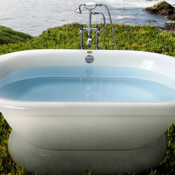 """Jacuzzi Era 7142 Free Standing Double Ended Soaker Tub 71"""" x 42"""" x 20"""" - ERD7142 - I love the simplicity and sculptural shape of this big soaker tub. Please Note: There are several options to choose from that affect price, including the pedestal base, wood stand, or claw feet, as well as the faucets. Base Price is $1,097.40"""