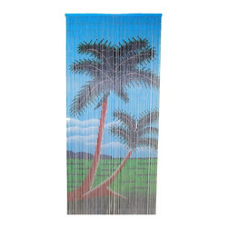 "Bamboo54 - Bamboo Double Palm Tree Curtain - Bamboo54 Double palm tree Curtain is the perfect accent to any drab door or any place you need to separate a room. Made of individual strands of bamboo, 90 of these strands makes up the scene and the pictures is painted on both sides of the curtain. Easily hung on any door way by using j hooks. Measures about 36"" W x 80"" L."