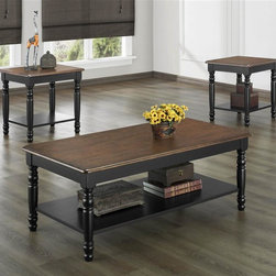 Homelegance - Ohana 3-Piece Occasional Table Set - Finish: Antique Black and Warm Cherry