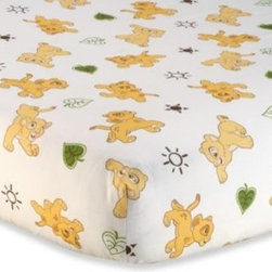 Disney Baby - Disney Baby Lion King Go Wild Fitted Crib Sheet - This adorable fitted crib sheet coordinates with the Lion King jungle-themed bedding collection. The sheet features a charming all over print of dancing Simbas in the same safari colors of soft tan, moss green, and brown.