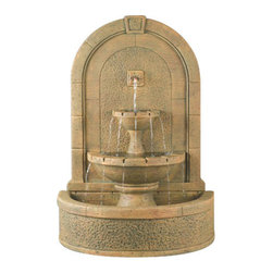 New Horizon Wall Fountain, Barocco - The classic sophistication of the New Horizon Wall Fountain will get praises from anyone who sees it. It brings the peaceful sounds of flowing water to any outdoor space, as well as being a wonderful sight in itself. This excellent quality cast stone fountain will last forever, becoming an eternal focal point in your yard or garden.