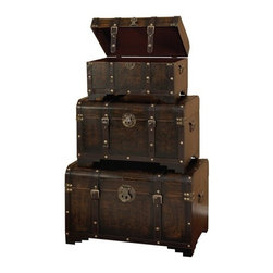 BZBZ39409 - Leather N Wood Chest Trunk Set of 3 with Antique Finish Hardware - leather N wood Chest Trunk Set of 3 with Antique finish hardware. Trunk Boxes are made of wood and faux leather. This is Set of 3 boxes, large box is 28 inches wide x 20 inches H x 16 inch L, medium box is 24 inch wide x 14 inch h x 13 inch L and small box is 20 inch wide x 10 inch H x 10 inch L. These boxes can be used for accent pieces or Treasure Chest in Kitchen, Living rooms or bedrooms. Great Price