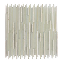 "Breeze Stylus Crema Ice Pattern Random Glass Tiles - sample-BREEZE STYLUSCREMA ICE PATTERN 1/8""X RANDOM1/4 SHEET GLASS TILES SAMPLE You are purchasing a 1/4 sheet sample measuring approximately 6"" x 6"". Samples are intended for color comparison purposes, not installation purposes.-Glass Tiles -"