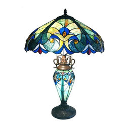 Chloe Lighting - Victorian Double Lit Table Lamp - Note: Shade colors will appear darker and less vibrant when not illuminated.. The handcrafted nature of this product creates variations in color, size and design. If buying two of the same item, slight differences should be expected.. This stained glass product has been protected with mineral oil as part of the finishing process. Please use a soft dry cloth to remove any excess oil. . Due to the nature of stained-glass, colors may vary. Designed with a mottled glass shade in blue, green, red and purple tones. Stained glass base. Requires one 15W & two 60W bulbs (not included). On-cord rotary switch. UL approved. 18 in. W x 26 in. H (13.4 lbs.)This Tiffany style Victorian design double lit table lamp will compliment many decors throughout the home and provide years of satisfaction. Shades of green, blue, amber and red. Colors will appear darker and less vibrant when not illuminated. This is for indoor use only. Simple assembly required.