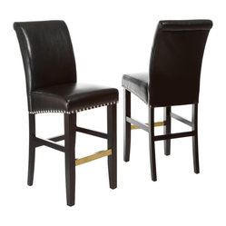 Great Deal Furniture - Carmen Black Leather Bar Stool (Set of 2) - The Carmen Leather Bar Stool is great for your kitchen or dining space. It is upholstered in beautiful, soft, black bonded leather, and the seat is embellished with chrome studded accents. You will enjoy the look and feel of this stool.