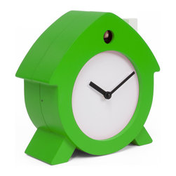 Progetti - Home Sweet Home 2180 Green/White Wall Clock - Home Sweet Home is a tabletop cuckoo that stems from living of his designer, from the emotional relationship created with everyday objects reshaped with new features. A witty object, a soft lines little house that colors and souls desks, shelves, bedside tables for a gentle awakening. The dial, with black hands, and chimney are always white while the cuckoo case can be in a single color (red or green) or with orange front and white back. Made in wood. Battery quartz movement. The Cuckoo strike is switched off automatically during the night controlled by a light sensor.