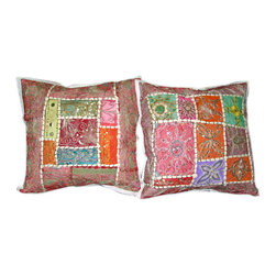 Mogul Interior - Red Pink Sari Patchwork Beaded Pillow Shams, Set of 2 - *Vintage Beaded Cushion Cover, sari  tapestry patchwork and sequin embroidered
