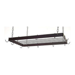 Grace Collection - Rectangular Butcher Pot Rack w Grid (Burnishe - Finish: Burnished CopperClear up a lot of space in your kitchen cupboards and shelves with this charming and functional rectangular hanging pot rack.  Rack comes with 12 hooks for hanging your favorite cook ware, and features a grid for even more storage space.  This is a beautiful way to store your cook ware and add style to your kitchen. * Hanging. Made from wrought iron. Rectangular shape. 38 in. L x 18 in. W x 2.5 in. H (25 lbs.). Includes four 10 gauge chains, ceiling mounting hardware and twelve hooks. 0.18 in. cold rolled steel hooks. 2 x 0.18 in. flat stock sides. 0.25 in. solid rod grid. Heavy weight high grade steel support straps