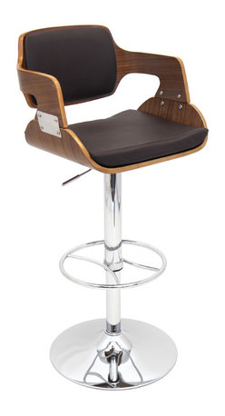 "Lumisource - Fiore Bar Stool, Walnut/Brown - 19"" L x 19.5"" W x 38 - 43"" H"