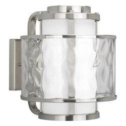 """Progress Lighting - Progress Lighting P5851-09 Bay Court 11-5/8"""" 1 Light Outdoor Wall Lantern in Bru - A dual shade outdoor wall lantern features an etched opal glass inner shade and a clear seedy glass outer shade.ADA Compliant: No Bulb Included: No Bulb Type: Incandescent Collection: Bay Court DarkSky: No Depth: 13-3 8 Energy Star Compliant: No Finish: Brushed Nickel Glass: Etched Opal Clear Seedy Height: 13-3 8 Height to Center: 7 Light Direction: Ambient Lighting LowVoltage: No Motion Sensor: No Number of Lights: 1 Photocell: No Shade Material: Glass Shade Shape: Cylinder Socket 1 Base: Medium Socket 1 Max Wattage: 100 Socket base: Medium Solar: No Style: Transitional Suggested Room Fit: Outdoor Title 22: No Title 24: No Wattage: 100 Weight: 14 Width: 11-5 8"""