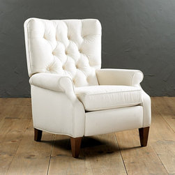 Ballard Designs - Morrison Tufted Recliner - In a small space, furniture has to pull double duty. This elegant chair is not only a lovely addition to any room, but it is also a recliner, perfect for a Sunday nap.