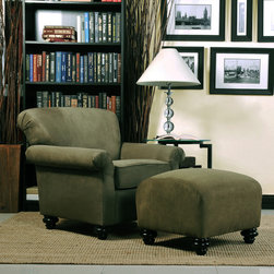 PORTFOLIO - Portfolio Capri Moss Green Microfiber Arm Chair and Ottoman - This comfortable and stylish green armchair and ottoman will blend in easily to existing decor. The armchair features a thick foam back cushion for added support and luxurious,pleated rolled arms and deep seat to keep you comfortable.