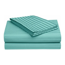 650 Thread Count Egyptian Cotton Twin XL Teal Stripe Sheet Set - 650 Thread Count Egyptian Cotton oversized Twin XL Teal Stripe Sheet Set