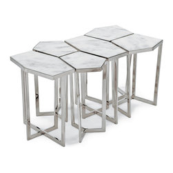 Kathy Kuo Home - Eastwood Hollywood Regency White Marble Silver Puzzle Coffee Table Set of 6 - A stylish serving solution with a whimsical spin, these tables stand alone or fit together like a large puzzle. Each tabletop is solid marble, with white and grey distinctions, for a uniquely pleasing color palette.