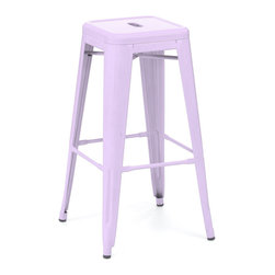 Design Lab MN - Amalfi Stackable Glossy Lilac Steel Barstool Set of 4 - The amalfi steel stackable barstool is a fantastic designed barstool to add to any restaurant, bistro or coffee house. This barstool is produced in rolled steel which can withstand any high traffic area. It also can be stacked to save space if needed. Produced by Design Lab MN, this product is manufacturer to highest standards in the furniture industry.