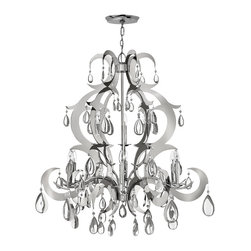 Frederick Ramond - Fredrick Ramond Xanadu Chandelier - Xanadu takes the traditional chandelier design and updates it into a uniquely modern version. The brilliant polished Stainless Steel finish and clear crystal accents create layers of dimension for a contemporary twist.