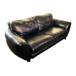 1970s Drexel Black Leather Calf Skin Couch - $4,200 Est. Retail - $1,495 on Chai -
