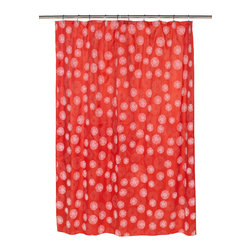 """""""Vienna"""" Fabric Shower Curtain with Poly Taffeta Flocking in White/Red - """"Vienna"""" 100% polyester fabric shower curtain with flocking, color white on red. Our """"Vienna"""" Shower Curtain will not only give your bathroom a welcome boost of fun and vitality, it will also bring some added dimension to your bathroom's decor. Unlike the ordinary two-dimensional shower curtain, this standard-sized (70'' wide x 72'' long) curtain has poly taffeta flocking, giving texture to its modern circular pattern. """"Vienna"""" is 100% polyester and remains fully machine washable. Here in White on Red, """"Vienna"""" is available in tangerine on ivory, black on white, or black on blue. Machine wash in warm water, tumble dry, low, light iron as needed"""