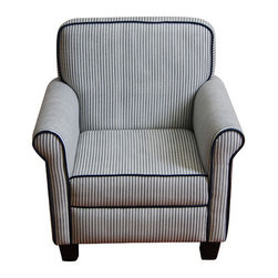 Shop Blue And White Striped Armchair Products On Houzz