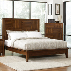 "Coaster - Joyce Queen Bed in Walnut Finish - Block designs detail the headboard and footboard of the Joyce bedroom collection. Special features include felt lined top drawer, full extension glides and english dovetail drawers. Keep your personal items near by tucking them in the hidden storage headboard. The timeless design and unique wood grain of the Grove Bedroom Collection makes this set a simple choice.; Transitional Style; Walnut Finish; Dimensions: 91.50""L x 65.50""W x 54.50""H"