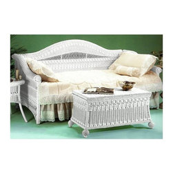 Spice Island Wicker - Classic Wicker Framed Daybed - Design a room that feels like it stepped straight from the garden with this whicker daybed.  You can choose white, brown, or white wash finishes.  It has an optional trundle and spring as well.  This daybed will encourage your daughter to lay back and relax with dreams of fairies and flowers!  Wide seat and  stylish, arched back combine comfort with style. * White finishDoes not include MattressChest not includedFor indoor use only. 84 in. W x 40.5 in. D x 46 in. H