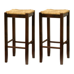 Winsome - Set of 2 Rush Seat 29 in.  Stools - This classic design stool has woven rush seat top with its broad square seat. Its adds traditional feel to any kitchen. Warm walnut finish.
