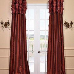 Paprika Ruched Faux Solid Taffeta Curtain - We've taken our popular Faux Silk Taffeta panels and added a ruched header valance creating the most luxurious, over the top style in window treatments out there. This style was designed and meant to be stationary and used as decorative panels to frame out your window.