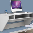 Prepac - Designer Floating Desk - Stable work surface is ideal for any computer. A rear flip-up door conceals a storage compartment. Mount at any height with metal hanging rail system. Cable and wire management below desk for easy access to wall outlets. Compartments below desktop are perfect for storing a laptop and accessories. Weight capacity: 80 lbs.. Warranty: Five years. Made from CARB-compliant, laminated composite woods. White finish. Made in North America. 42.5 in. W x 21 in. D x 20.5 in. HOptimize your space with Prepacs Designer Floating Desk. Perfectly suited for any home office, den, living room, kitchen or bedroom. Flip-up door is ideal for power bars and adapters. No more messy wires cluttering up your workspace!