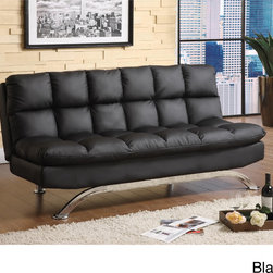 Furniture of America - Furniture of America Pascoe Bicast Leather Sofa/ Futon - This Pascoe sofa transitions to a full-size bed in seconds. The high-density foam cushions of this futon is very supportive and comfortable.