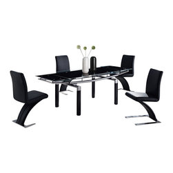 "Global Furniture USA - D88DT-BL + D88DC-BL Black Glass & Leatherette Five Piece Dining Set - This table features a rectangular black glass top with clear accents. The table has folding ends which end the table up to a 87"". The tubular legs are made of silver metal and are finished in black. The dining chairs come upholstered in a beautiful black leatherette material. They feature a unique curved design with a chromed base. The dining set includes the dining table and four chairs only."