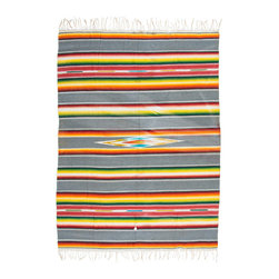 Vintage Yellow Serape - Traditionally worn as a blanket-like shawl, the serape is a multifunctional textile. It can work as a rug, as a throw on cold nights, as a bleach blanket in the summer, or a seat cover in your 1940 Ford.
