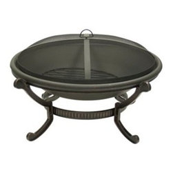 Dagan Round Steel Outdoor Fire Pit - Th wood-burning Dagan Round Steel Outdoor Fire Pit is perfect for a summer full of s'mores and roasted hot dogs. -Mantels Direct