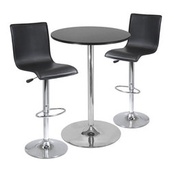 """Winsome Wood - Winsome Wood Spectrum 3 Piece Round Pub Table Set w/ 2 L-Shape Airlift Stools - 3 Piece Round Pub Table Set w/ 2 L-Shape Airlift Stools belongs to Spectrum Collection by Winsome Wood This set comes with 28"""" Round Pub Table and 2 Air Lift Stools. Table top is made of MDF in black color with metal base. Stools seats are faux leather in black which adjust from 22.64"""" to 31.10"""" Height. Easy assembly. Pub Table (1), Stool (2)"""