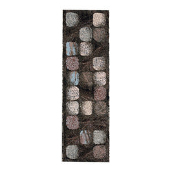 """Nourison - Nourison Modesto MDS01 2'2""""x7'3"""" Charcoal Area Rug 18298 - Calling to mind the rustic charm of a weather worn cobble stone patio, the subdued array of colors in this modern mosaic design will lend character and style to any space. Windswept squares of beige, auburn, tan, and taupe rest upon a subtly swirled dark-coffee colored backdrop in this earth toned area rug. The durable yet comfortable construction of this rug offers an alluring charm to any room."""