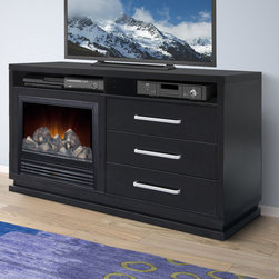 CorLiving - CorLiving TFP-706-Z Holland TV Bench with Fireplace in Black Wood Grain - Add warmth and style to your living room with this contemporary fireplace bench from the Holland collection. Finished in a black wood grain,this electric fireplace has three spacious drawers for audio visual components and accessories.