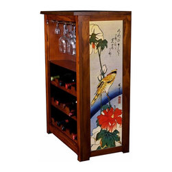 "Kelsey's Collection, Inc. - Hiroshige Wine Cabinet Yellow Bird On Red Flower - Pine Wine Cabinet  stores wine and glassware with famous artwork by Ukiyoye artist Aldo Hiroshige giclee-printed on canvas side panels. The art is giclee printed on canvas with three coats of UV inhibitor to protect against the sunlight and thereby extend the longevity of the art. The canvas is then glued onto panels and inserted into the frames. Kelsey's Wine Cabinet showcases and stores wine and glassware with solid radiata pine construction. Famous artwork is giclee-printed on canvas side panels which provide a unique decorating touch of art that enhances the product and reflects your home-decor style.  The frame, top, and racks are solid New Zealand radiata pine with a hand stained and hand rubbed rubbed medium reddish brown finish, that is then protected with a  lacquer coat and top coat.. Kelseys Collection is where ""Great Art & Function Meet""  This model is also referred to as the Jessica model. Dimensions are 33 by 22 by 12 deep.  Holds 15 wine bottles and full sized wine glasses.  Some assembly required."