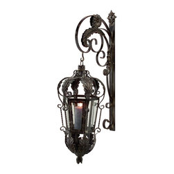 iMax - iMax Balfour with Bracket Traditional Wall Sconce X-7375 - There's definitely nothing simple about this IMAX Balfour with Bracket Traditional Wall Sconce. It features an impeccably designed, wrought iron frame with gracefully flowing scroll work, leaf details and clear, glass panels. You won't be able to take your eyes off of this dramatic and eye-catching once you see it hanging on your wall.