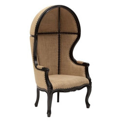 Dome Chair, Black - Who would have ever thought of designing something so unusually attractive. The Dome Chair is rounded with great details of Mahogany woods and polished with a superb hand-rubbed black finish. It's Victorian styled structure is upholstered with a lovely burlap material that is effortlessly tacked on with nail heads. When you seat yourself in this chair you feel like royalty. It's round dome creates a small alcove for you to disappear from the hustle and bustle in your daily life. Beautifully assembled at every position, who wouldn't want anything other then the Dome Chair.